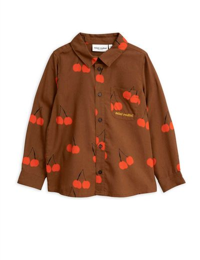 Mini Rodini - Cherry woven shirt, Brown