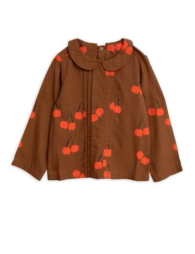 Mini Rodini - Cherry woven pleat blouse, Brown