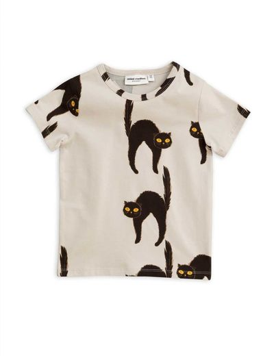 Mini Rodini - Catz ss tee, Light grey