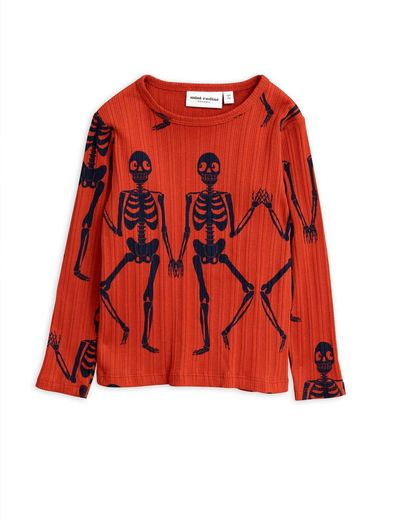 Mini Rodini - Skeleton aop ls tee, Red
