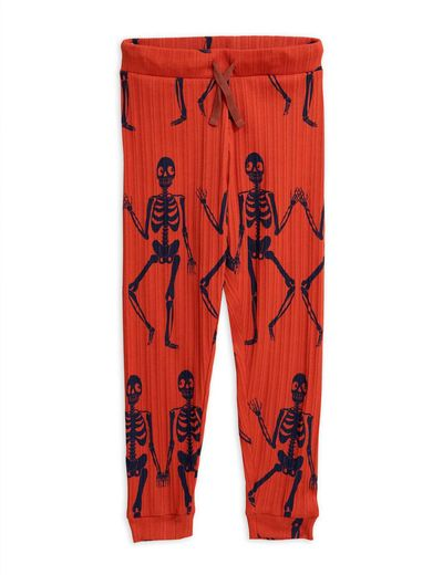 Mini Rodini - Skeleton aop trousers, Red
