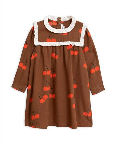 Mini Rodini - Cherry woven frill dress, Brown