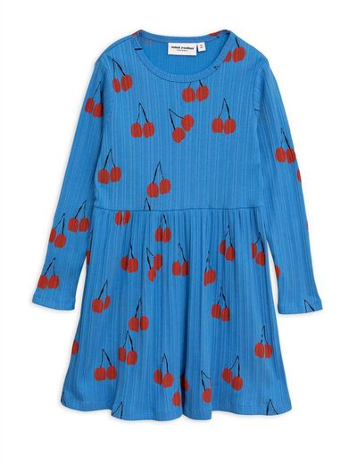 Mini Rodini - Cherry ls dress, Blue