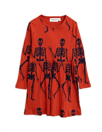 Mini Rodini - Skeleton aop ls dress, Red