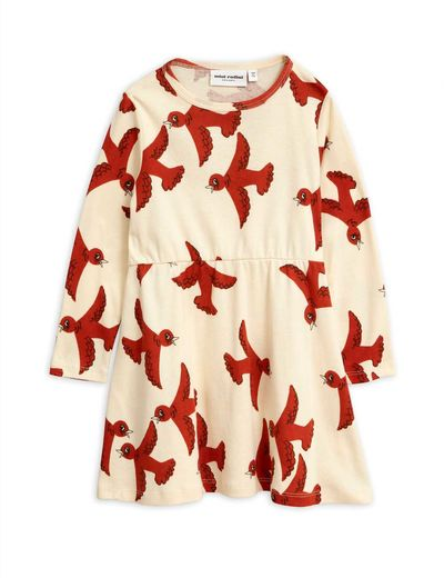 Mini Rodini - Flying birds ls dress, offwhite
