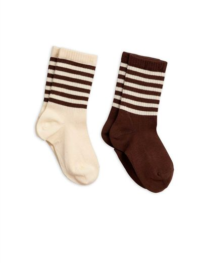 Mini Rodini - 2-pack socks, Brown