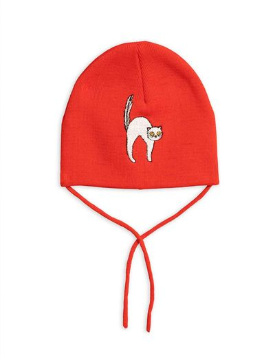 Mini Rodini - Angry cat patch hat, Red