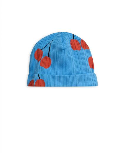 Mini Rodini - Cherry baby beanie, Blue