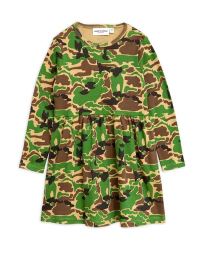 Mini Rodini - Camo ls dress, green