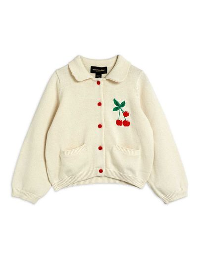 Mini Rodini - Cherry cardigan, Offwhite