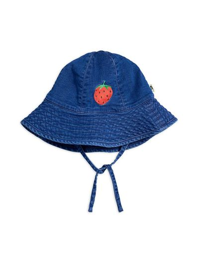 Mini Rodini - Denim strawberry sun hat, Blue