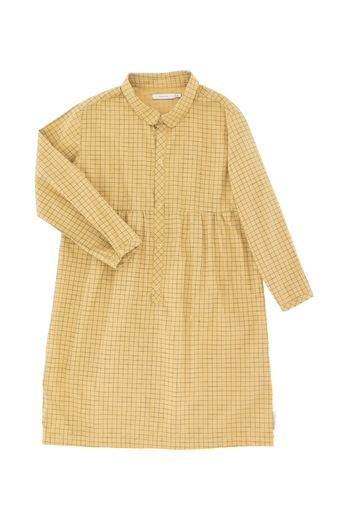Tinycottons - Grid ls dress, sand/dark green