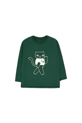 Tinycottons - CAT LS TEE, bottle green/light cream