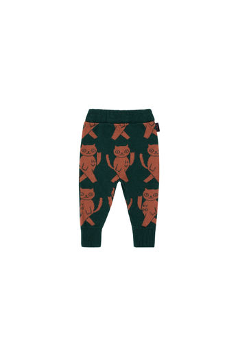Tinycottons - CATS PANT, bottle green / dark brown