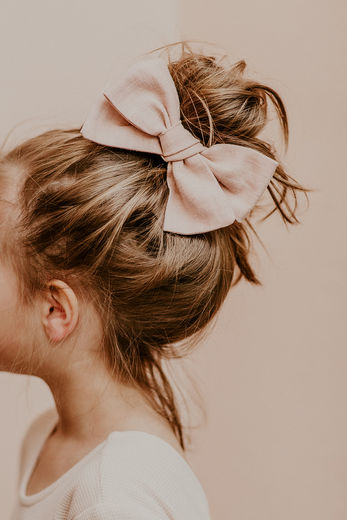 Kaiko - Linen Bow Hairclip, Dusty Pink