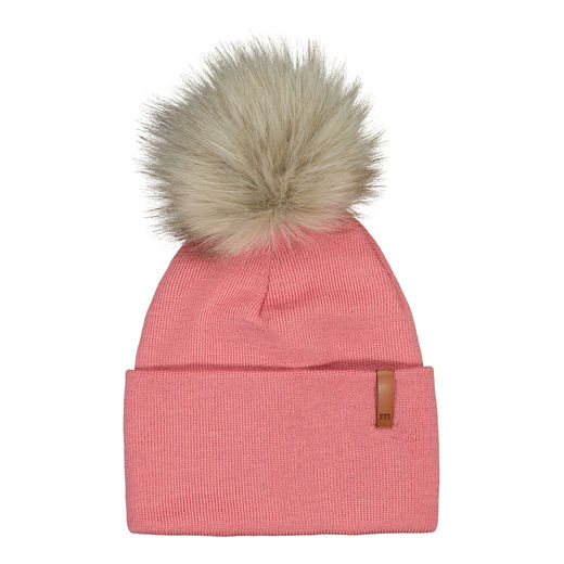 METSOLA - Folded beanie Fur, Strawberry ice
