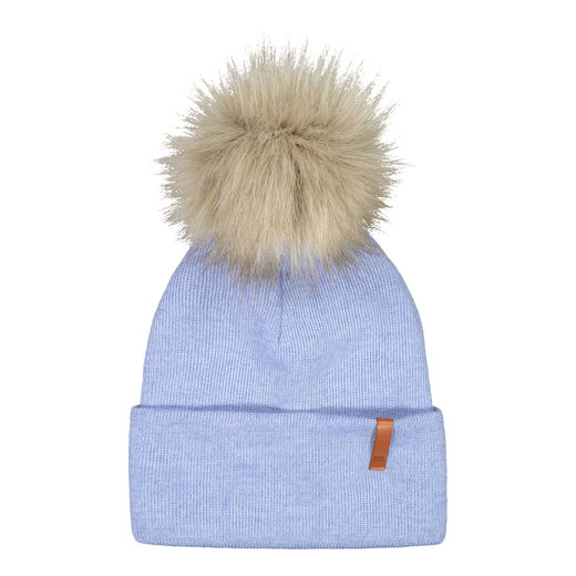 METSOLA - Knitted rib Beanie folded + FUR, Cool Blue
