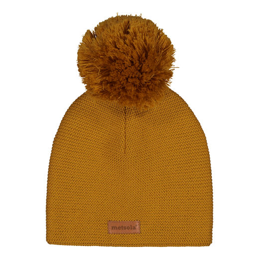 METSOLA - Knitted Classic Beanie, 1 Pom Pom, Sweet Honey