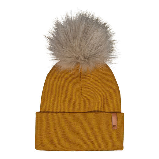 METSOLA - Knitted rib Beanie folded + FUR, Sweet Honey