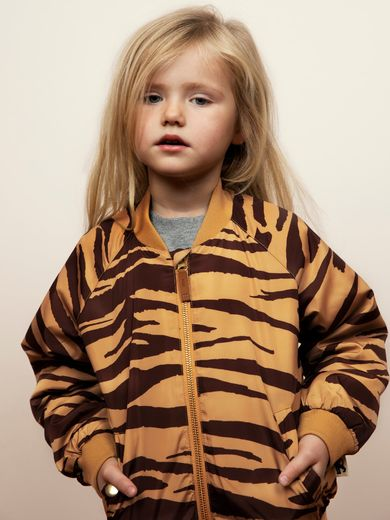 Mini Rodini - Tiger baseball jacket baseball jacket, Brown