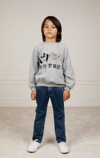 Mini Rodini - Cat and panda sp sweatshirt, Grey melange