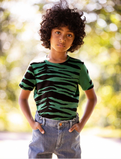Mini Rodini - Tiger ss tee, Green