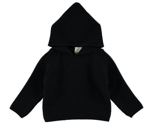 Mini Sibling - Knit Hoodie Jumper, Black