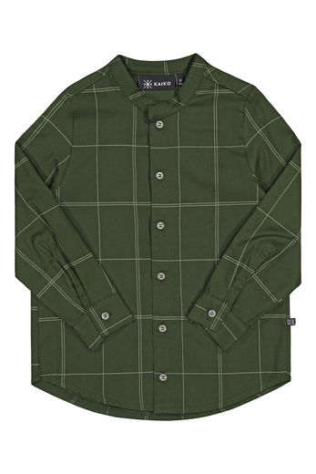 Kaiko - Grid Collar shirt Ls, Moss