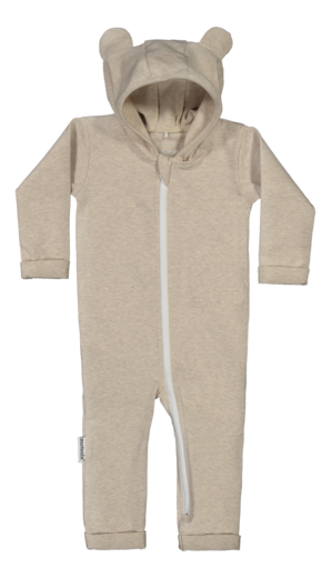 METSOLA - RIB tricot playsuit w. hoodie and ears, sand of africa