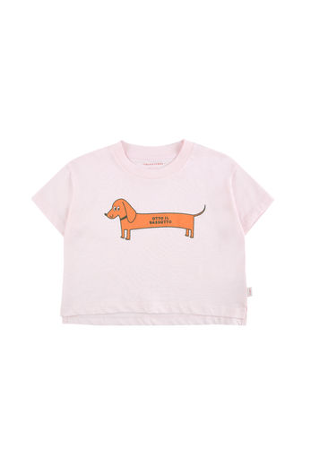 Tinycottons - IL BASSOTTO CROP TEE SHIRT, light pink/brick