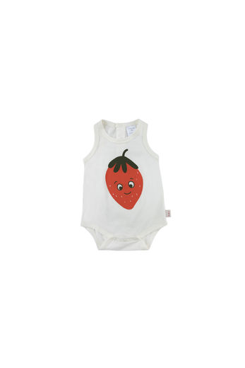 Tinycottons - STRAWBERRY BODY, off-white/red