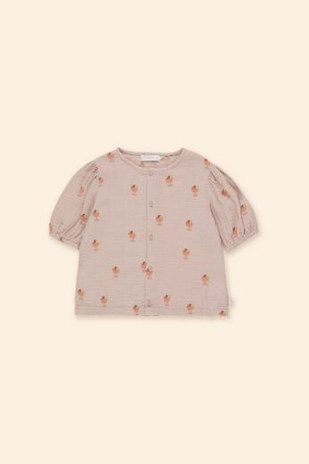 Tinycottons - ICE CREAM CUP PUFF SHIRT, dusty pink / papaya, SS21-197