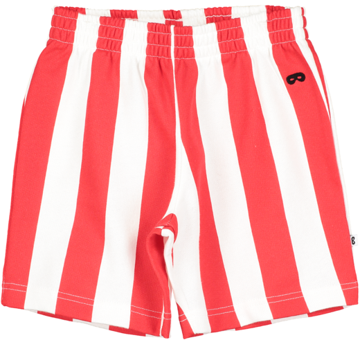 Beau LOves - Deck Chair Stripe Shorts, Ecru / Tomato Red