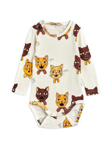 Mini Rodini - Cat choir aop ls body, offwhite