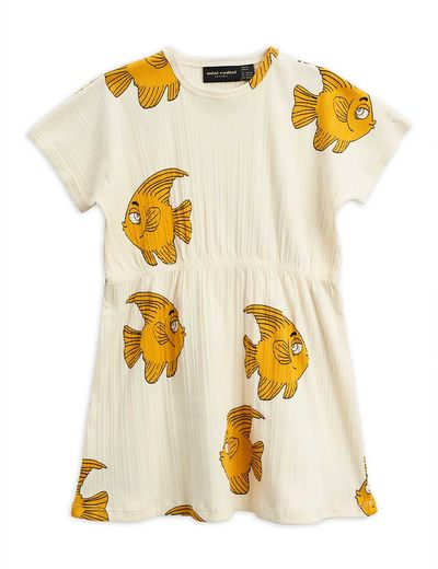 Mini Rodini - Fish SS dress, offwhite