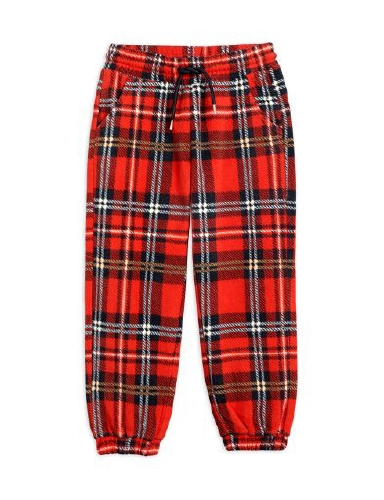 Mini Rodini - Fleece check trousers, Red