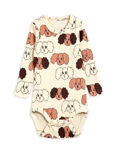 Mini Rodini - Fluffy dog aop ls body, Beige
