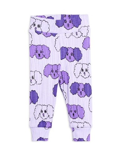 Mini Rodini - Fluffy dog aop nb leggings, purple