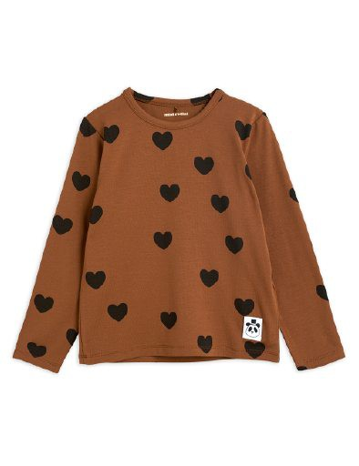Mini Rodini - Hearts aop ls tee, brown