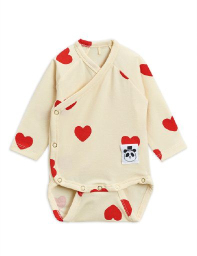 Mini Rodini - Hearts wrap body, Offwhite
