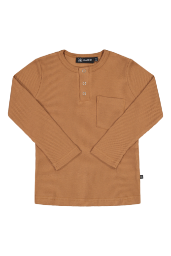 Kaiko - Henley shirt LS, toffee