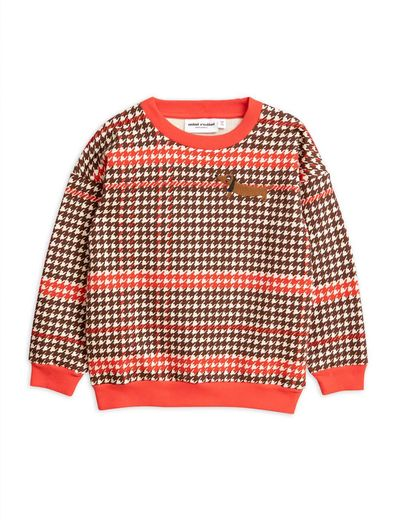 Mini Rodini - Houndstooth sweatshirt, red