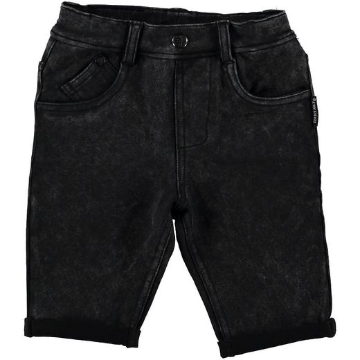 Black jog denim shorts