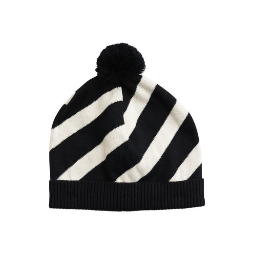 Papu - KNIT STRIPE POM POM BEANIE Kid,  Black/sand