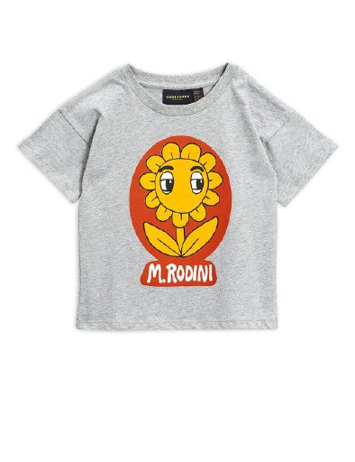 Mini Rodini - Flower sp ss tee, Grey melange