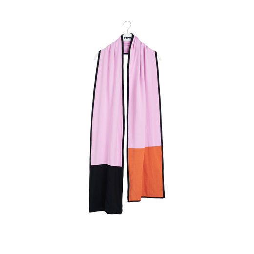 Papu - KNIT STRIPE OBLONG SCARF,  sand, lilac, orange, lilac