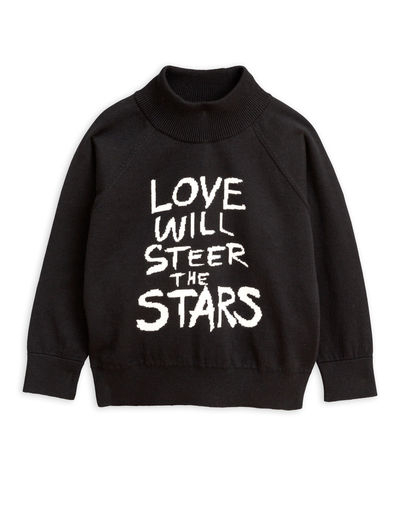 Mini Rodini - Love knitted sweater, Black