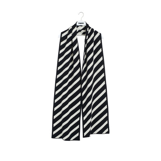 Papu - KNIT STRIPE OBLONG SCARF,  Black/sand