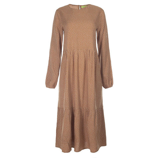 Kiddow - LONG SLEEVE WOMEN DRESS, CARAMEL