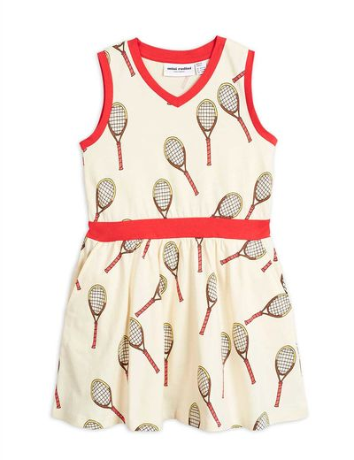 Mini Rodini -Tennis aop tank dress, white